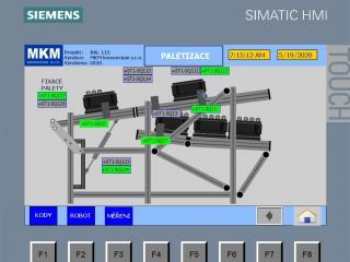Ovládací displej - paletizace u válcovačky s manipulací  1